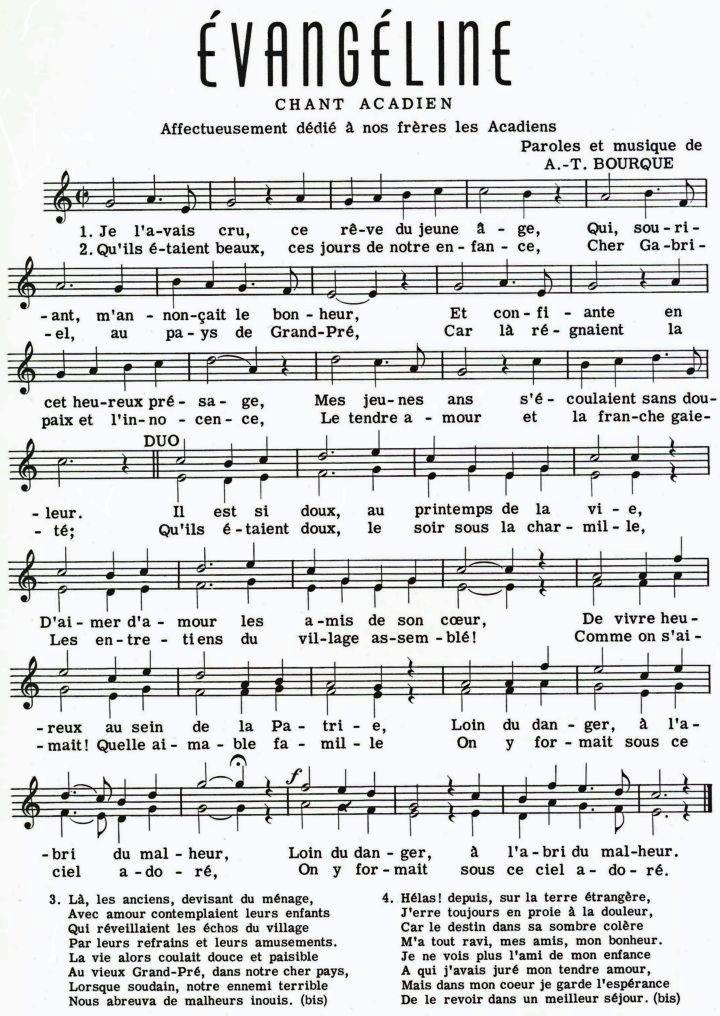 parole chanson evangeline